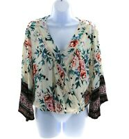 Heart Soul Womens Ivory Floral Long Sleeve V Neck Top