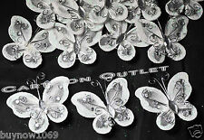 "12pc BUTTERFLIES WHITE ORGANZA NYLON TULLE SILVER 2"" RECUERDOS SHOWER BRIDAL NEW"