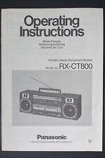 Panasonic rx-ct800 ORIGINAL INSTRUCCIONES DE EMPLEO / Usuario Propietario`S