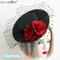 Stylish Black Rose Polka Dot Mesh Retro Vintage Gatsby Style Racing Wedding Hat