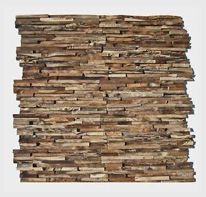 3D Holz Wandverkleidung HO-006 Teak Altholz Wand-Paneele Verblender Wurzelholz