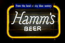 """New Hamm's Beer Neon Light Sign 24""""x20"""" Lamp Poster Real Glass"""