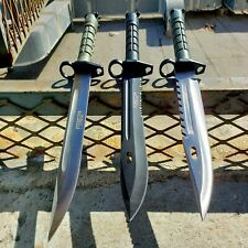 3 PC Military Survival Rambo Fixed Blade Hunting Knife Bayonet Tactical Bowie