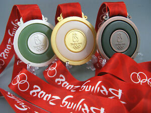 2008 BeiJing Olympic Gold /Silver /Bronze Medals Set 1:1 With Ribbons & Stand