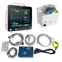"6 parameter 12"" Vital Sign Patient Monitor ECG NIBP RESP SPO2 PR TEMP Medical"