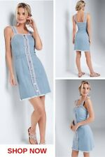 fringe trim light wash denim mini dress