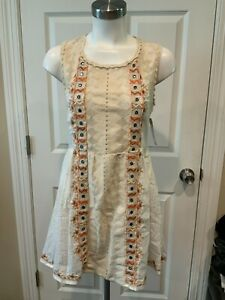 Free People Cream & Silver Striped W/ Embroidered Front, Size 2 (US)