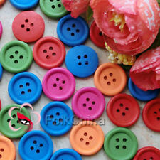 Mixedl Round Edge 20mm Wood Buttons Sewing Scarpbooking Craft C045