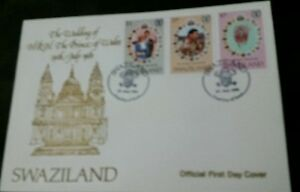 Swaziland 1981 Royal Wedding (Charles & Diana) set on official FDC