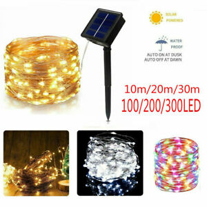 200LED Solar String Lights Waterproof Copper Wire Fairy Garden Outdoor U
