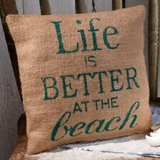 """LIFE IS BETTER AT THE BEACH Stenciled Burlap Pillow 8"""" x 8"""""""