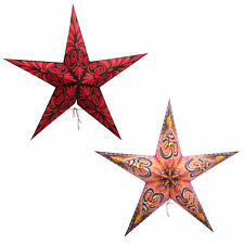 Decorative Christmas Festive Embroidery Ecofriendly Paper Star Lanterns Set Of 2
