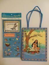 Hallmark Disney's Pocahontas birthday gift bag with sheet of stickers