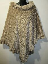 Poncho Fits S M L XL 1X Tan Crushed Velvet Lined Wrap Jacket Texture NWT G465
