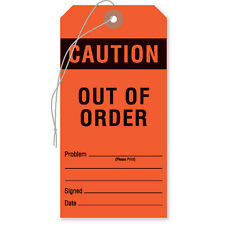 """Equipment Tags """"Caution: Out of Order"""" Tag  Red 50 pk"""