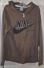 Nike Swoosh Just Do It Gray Hoodie Hoody Full Zip Sweatshirt Jacket Men's L