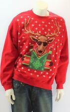 Ugly Christmas Sweater Crew Neck Reindeer Beer Funny Men Sweatshirt
