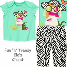 NWT Gymboree WILD FOR ZEBRA Girls Size 3-6 Months Capri Pants Shirt Top 2-PC SET