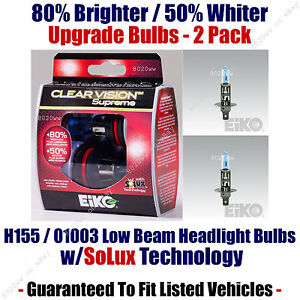 2-Pack Upgrade Low Beam Headlight Bulbs 80% Brighter 50% Whiter 01003/H155CVSU2
