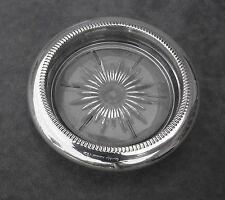 VINTAGE SET OF 4 LEONARD SILVERPLATED STARBURST GLASS  COASTERS OR ASH TRAYS