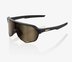 100% S2 Matte Black Cycling Sunglasses - Soft Gold Mirror Lens + Clear Lens