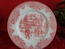 ROYAL STAFFORD CHRISTMAS ICE SKATING SCENE TOILE RED DINNER PLATES SET OF 2 NEW