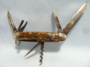 Vintage Camillus Cutlery Co.-SWORD BRAND- 6- Blade Folding Pocket Knife - BONE