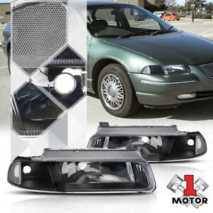 Black Housing Headlight Clear Signal Reflector for 95-00 Cirrus/Stratus/Breeze