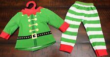 New Elf Pajamas for American Girl Doll Christmas Holiday Green Stripe Long Johns