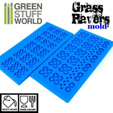 Pack x2 GRASS PAVER Textured SILICONE MOLD - for resins diorama Impression 40k