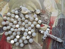 1800s Antique Large Mother of Pearl Beads Rosary in St Silver-Immaculate Medal