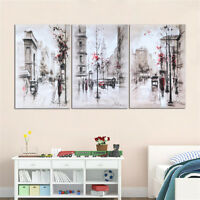 3PCS Art Canvas Prints Painting Street City Wall Picture Home Decor No Framed