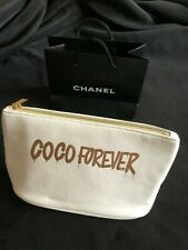 Chanel Coco Forever Zippered White Microfiber Pouch and Notebook Limited Edition