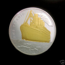 RMS TITANIC Gold & Silver Coin Atlantic Ocean on Map  USA TO UK Liverpool (10)