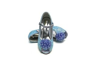 ELSA & ANNA® Quality Girls Princess Snow Queen Wedged Party Shoes Sandals BLU23