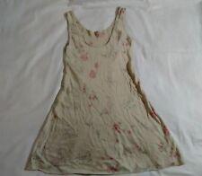 Tan pink green red white flower dress valerie stevens pure silk
