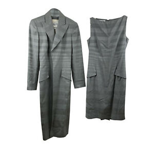 Authentic Christian Dior Vintage Grey Sheath Dress and Coat Set Suit Size 36 FR