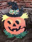 "Vintage Repro JOL Pumpkin in Witch Hat Halloween Cardstock Decoration,8"" OR 10"""