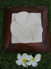 Brand New Balinese Hand Crafted Limestone Frangipani Wall Plaque Bali Wall Art