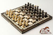 Wooden Chess and Draughts / Checkers Set 35 X 35cm - Burnt Design