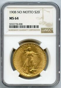 1908 No Motto Twenty Dollar Gold Coin $20 NGC MS 64