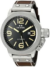 """TW STEEL CS36 """"Canteen"""" Automatic Black-Dial Brown-Leather Strap  50MM Watch NEW"""