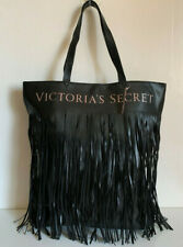NEW! VICTORIA'S SECRET VS BLACK FRINGE SHOPPER TRAVEL GETAWAY TOTE BAG $58 SALE