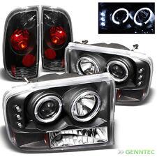 For 99-04 F250 F350 Super Duty Halo LED Pro Headlights+Tail Head Lights Set