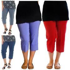 Womens Plain Plus Size Elasticated 3/4 Length Capri Trousers Pants Shorts 12-24