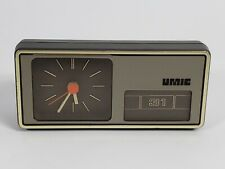 Vintage Umic Minimalist Aachen Germany Table Clock Manual Pull Out Calendar