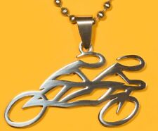 Tandem Bicycle Pendant Stainless Steel FREE beaded chain necklace