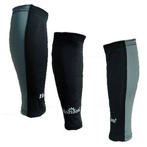 Horizon Grey/Black Sports Running Compression Calf Guards