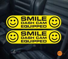 Sonrisa Dashcam Decal/Sticker Pegatina De Advertencia De Cctv. en Coche Par 145x35mm cada uno