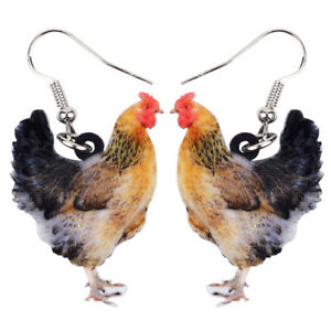 Acrylic Colorful Rooster Chicken Earrings Drop Farm Pet Jewelry For Women Gifts